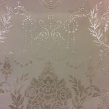 Красивая атласная ткань с вышивкой 2377/11. Франция, Европа, портьерная ткань. Ванильный фон, серебристый орнамент