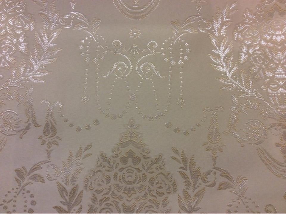 Красивая атласная ткань с вышивкой 2377/11. Франция, Европа, портьерная ткань. Ванильный фон, серебристый орнамент купить