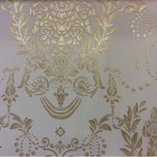 Атласная ткань с вышивкой для занавесок 2377/15. Франция, Европа, портьерная. Ванильный фон, насыщенный золотой орнамент