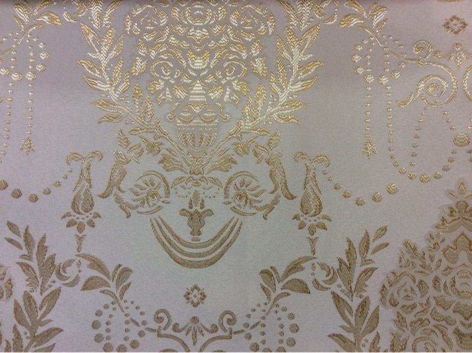 Атласная ткань с вышивкой для занавесок 2377/15. Франция, Европа, портьерная. Ванильный фон, насыщенный золотой орнамент в интернет-магазине Москва