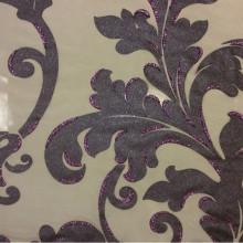Элитная тюль в гостиную или спальню в стиле барокко Belvedere 10. Европа, Италия, тонкий тюль. На прозрачном фоне орнамент цвета аметист с блёстками