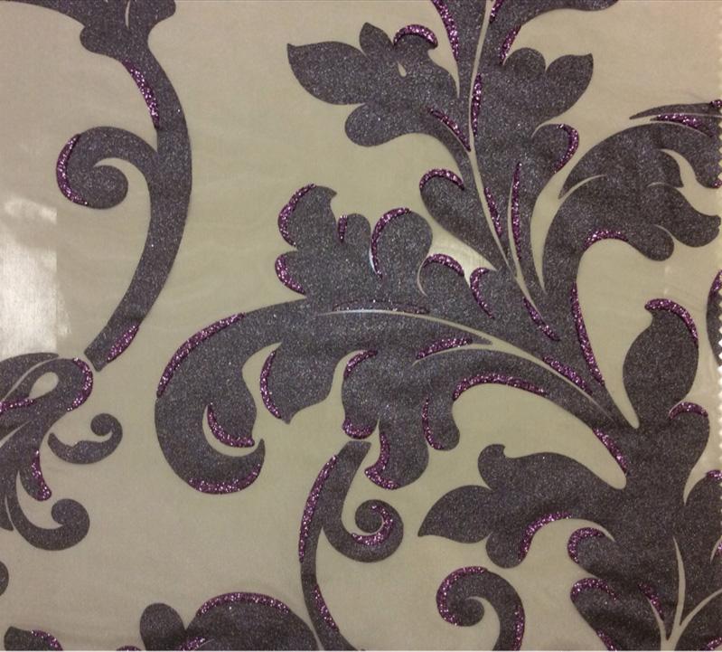 Элитная тюль в гостиную или спальню в стиле барокко Belvedere 10. Европа, Италия, тонкий тюль. На прозрачном фоне орнамент цвета аметист с блёстками купить