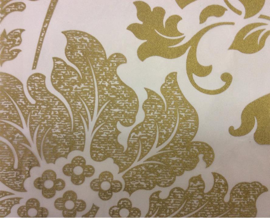 Тюль в стиле барокко из органзы и вискозы Belvedere 25. Европа, Италия, тонкий тюль, классика. На прозрачном фоне бронзовый орнамент (цветы) купить в Москве