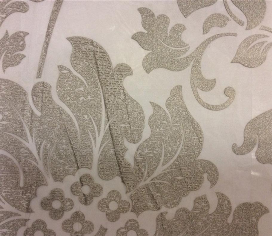 Очень красивая тюлевая ткань для штор Belvedere 28. Италия, Европа, тонкий тюль в стиле барокко. На прозрачном фоне орнамент титанового оттенка (цветы) купить