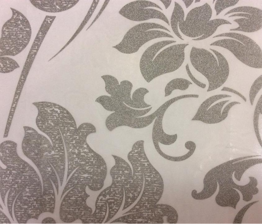 Дорогой итальянский тюль в классическом стиле (барокко) Belvedere 29. Италия, Европа, тонкий тюль для штор. На прозрачном фоне серебристый орнамент (цветы) купить Москва