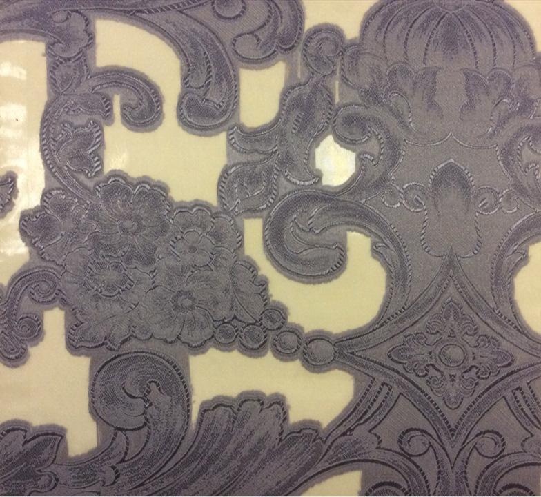 Контрастная тюль в стиле барокко Belvedere 03. Италия, Европа, тонкий тюль. На прозрачном фоне синий орнамент