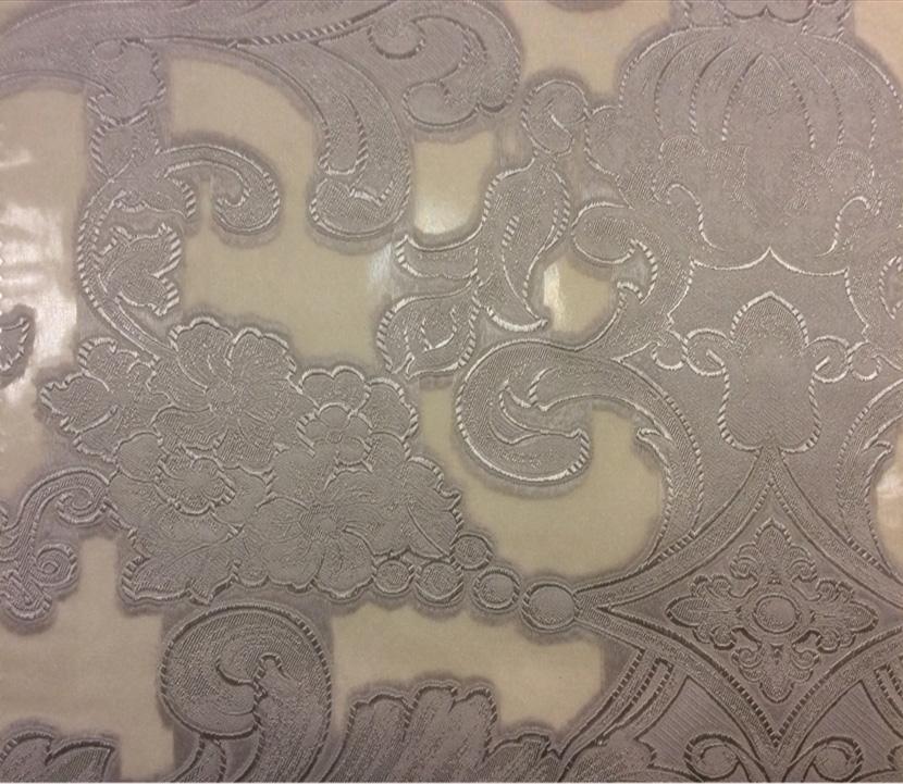 Тонкий итальянский тюль в стиле барокко Belvedere 04. Европа, Италия. На прозрачном фоне серебристый орнамент