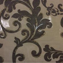 Итальянский тюль для штор в стиле барокко Belvedere 07. Европа, Италия, тонкий тюль. На тёмном фоне орнамент цвета венге с блёстками