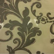 Красивый тюль из Италии Belvedere 08. Европа, Италия, тонкий тюль. На прозрачном фоне зелёный орнамент с блёстками