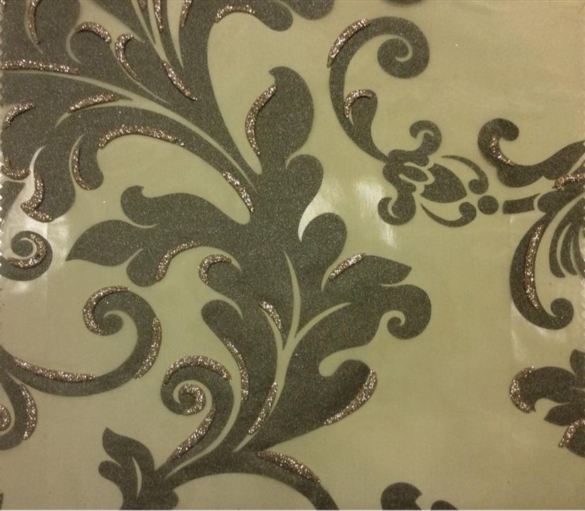 Красивый тюль из Италии Belvedere 08. Европа, Италия, тонкий тюль. На прозрачном фоне зелёный орнамент с блёстками купить
