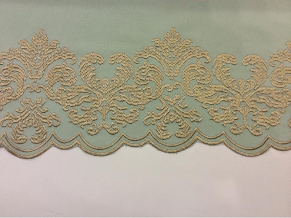 Ткань фланель однотонная 2399/41. Европа, Италия, портьерная ткань. Цвет морской волны с золотым орнаментом купить