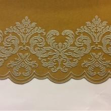 Однотонная фланель с атласной обработкой низа 2399/22. Европа, Италия, портьерная ткань. На горчичном фоне бронзовый орнамент