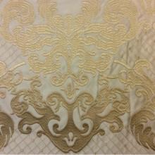 Однотонный атлас для штор с красивой обработкой низа ткани 2418/21. Европа, Италия, портьерная ткань. На бежевом фоне бронзовый орнамент