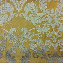 Однотонная ткань из атласа с обработкой низа (высота орнамента 40 см) 2418/22. Италия, Европа, портьерная ткань. На горчичном фоне бронзовый орнамент