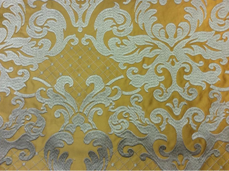 Однотонная ткань из атласа с обработкой низа (высота орнамента 40 см) 2418/22. Италия, Европа, портьерная ткань. На горчичном фоне бронзовый орнамент купить