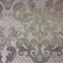 Однотонная портьерная ткань из атласа (высота орнамента 40 см) 2418/27. Италия, Европа, портьерная. На фоне титанового оттенка бронзово-зелёный орнамент