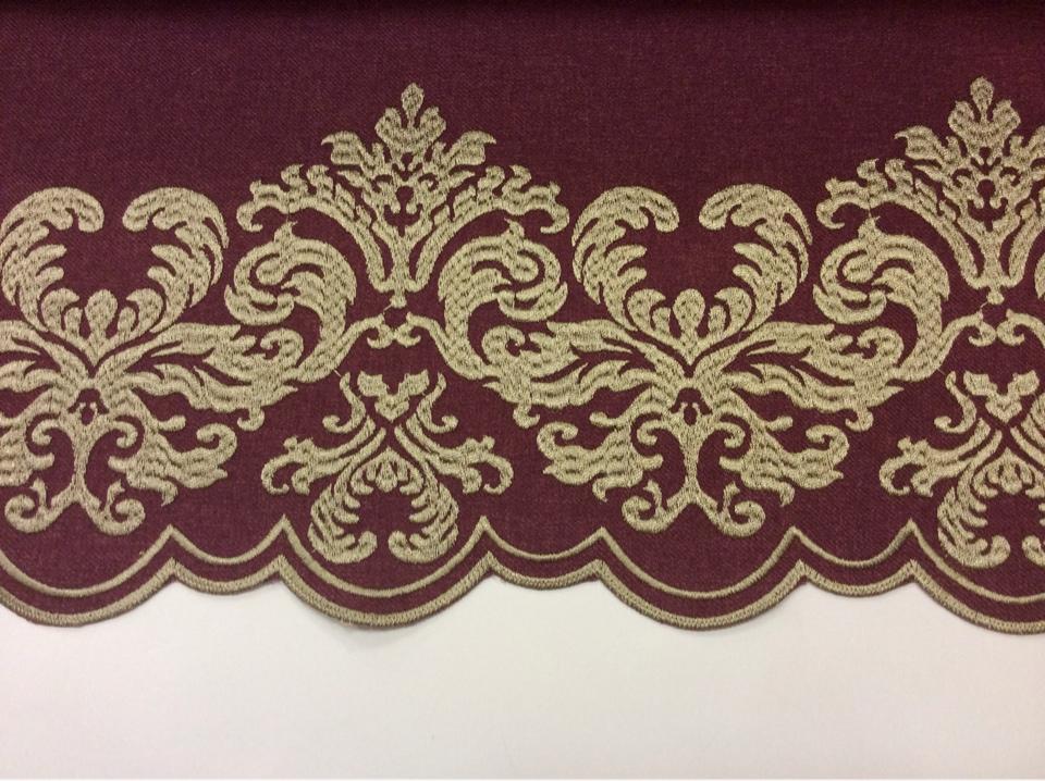 Однотонная фланель с атласной обработкой низа 2399/36. Европа, Италия, портьерная ткань. На тёмно-малиновом фоне бронзовый орнамент купить