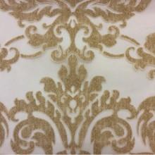 Купить красивый итальянский тюль в Москве 2392/21. Европа, Италия, тюлевая ткань. На прозрачном фоне бронзовый орнамент «дамаск»