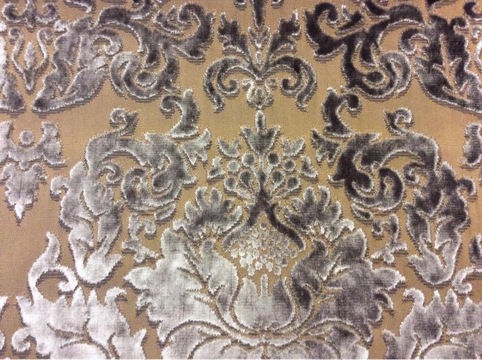 Итальянская портьерная ткань из хлопка 2386/22. Европа, Италия, портьерная ткань. На горчичном фоне шоколадный орнамент из бархата купить в Москве