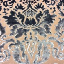 Набивная ткань из хлопка и бархата в классическом стиле 2386/45. Европа, Италия, портьерная. На титановом фоне бирюзовый бархат