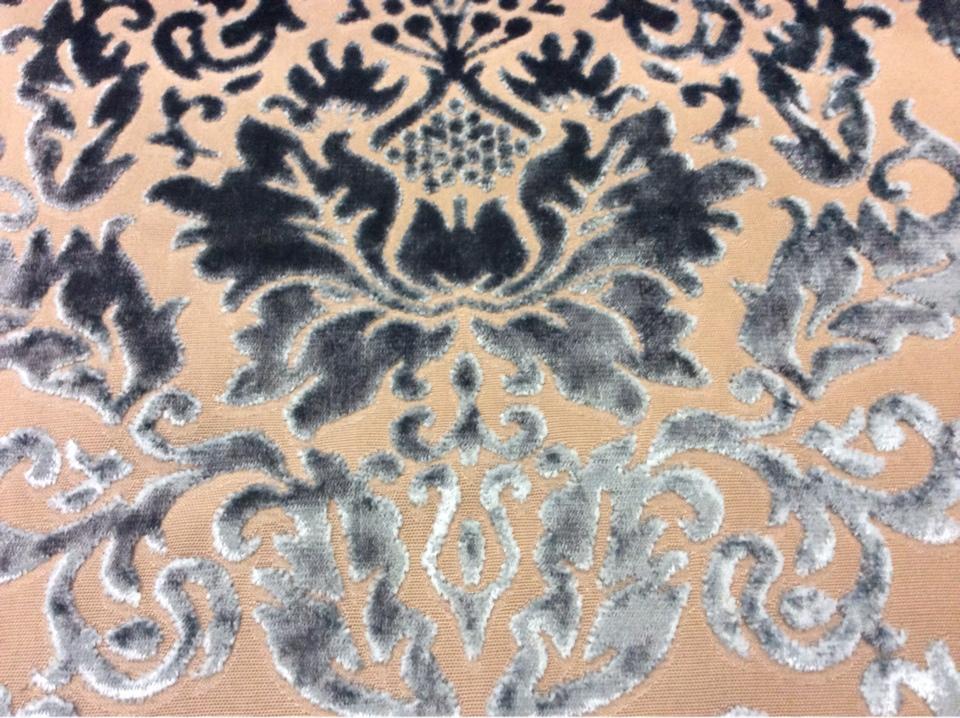 Набивная ткань из хлопка и бархата в классическом стиле 2386/45. Европа, Италия, портьерная. На титановом фоне бирюзовый бархат заказать