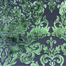 Элитная набивная ткань из бархата в стиле барокко 2386/51. Европа, Италия, портьерная. На коричневом фоне зелёный бархат