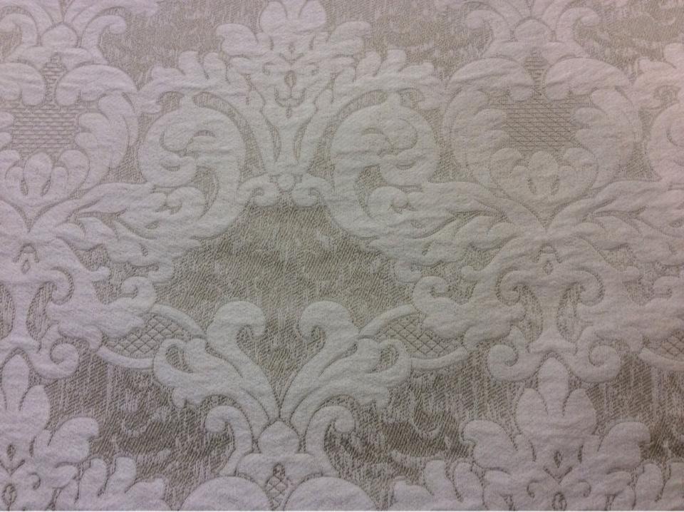Портьерная итальянская ткань из вискозы 2389/11. Италия, Европа, барокко, классика. Бежево-ванильный фон купить в Москве