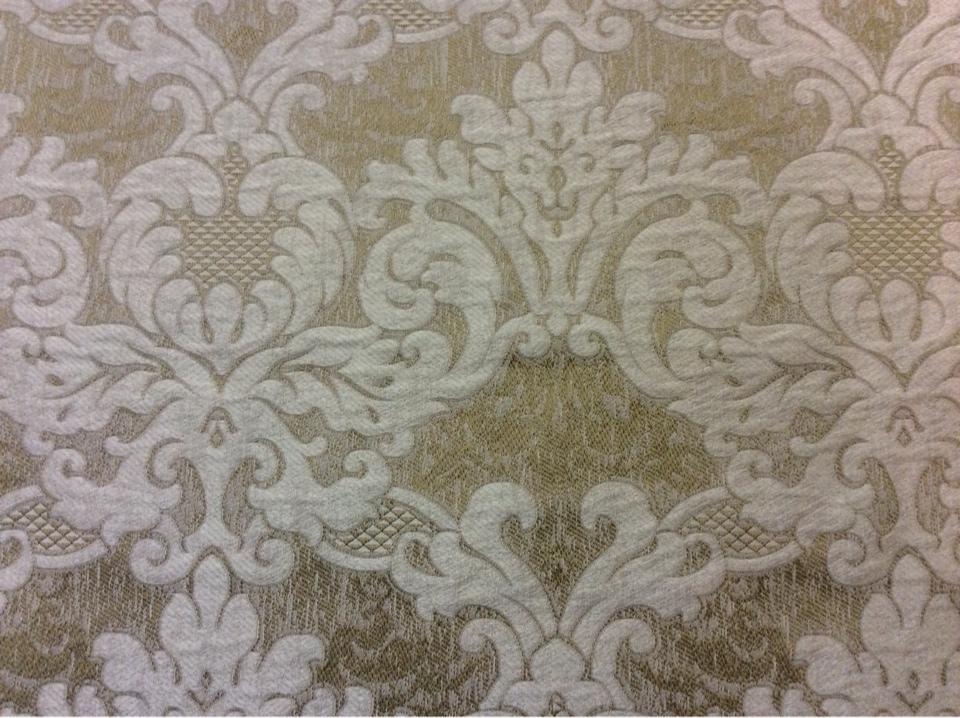 Очень красивая ткань из вискозы в классическом стиле 2389/21. Италия, Европа, портьерная. Бронзовый фон, бежевый орнамент купить