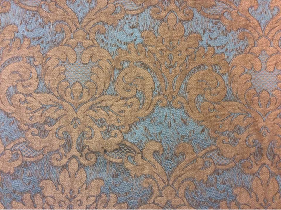 Красивая, итальянская портьерная ткань в классическом стиле 2389/45. Европа, Италия. Бирюзовый фон, титановый орнамент купить Москва