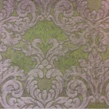 Итальянская портьерная ткань для спальни или гостиной 2389/51. Европа, Италия, портьерная. Зелёный фон, титановый орнамент