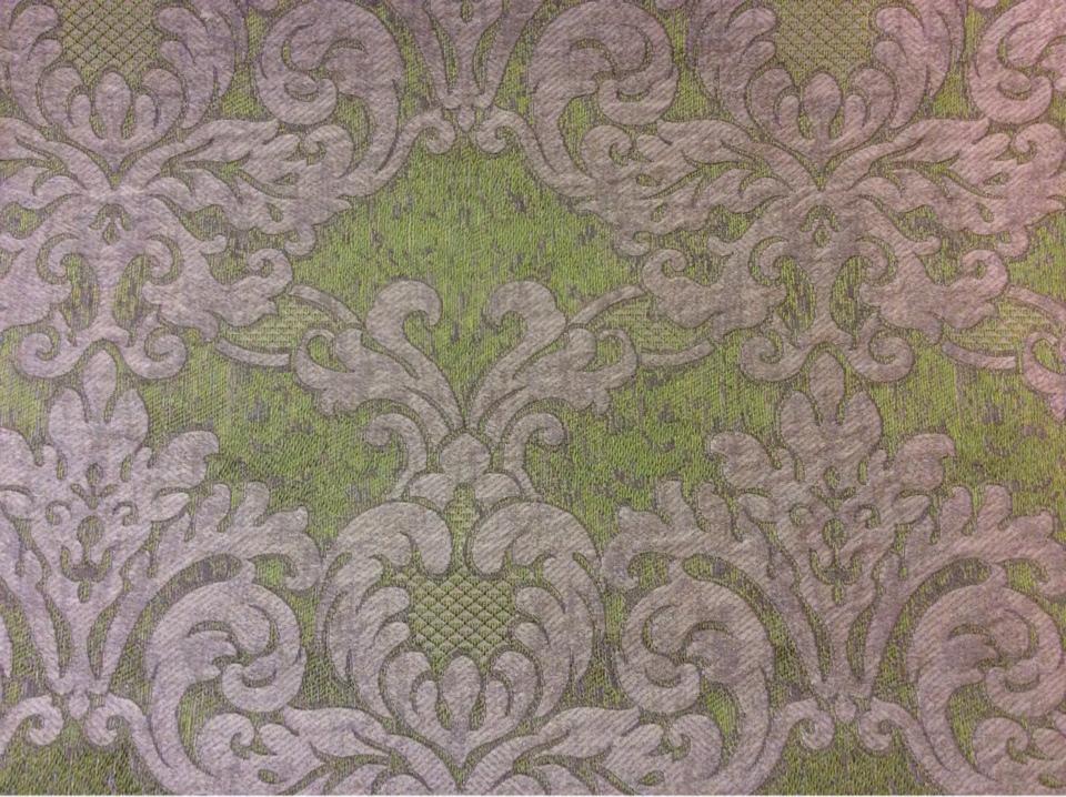 Итальянская портьерная ткань для спальни или гостиной 2389/51. Европа, Италия, портьерная. Зелёный фон, титановый орнамент купить