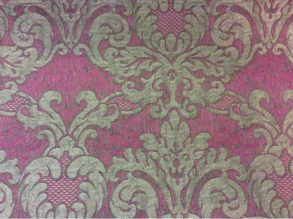 Итальянская ткань для спальни, гостиной комнаты 2389/36. Европа, Италия, портьерная. Тёмно-малиновый фон, титановый орнамент купить