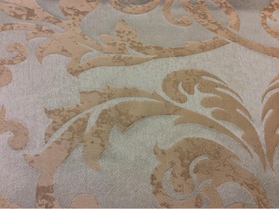 """Льняная портьерная ткань для штор 2390/41. Европа, Италия, портьерная. Фон цвета морской волны, бежевый орнамент """"под старину"""" купить"""