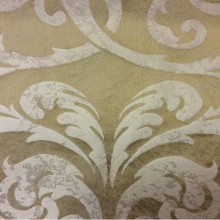 Итальянская льняная ткань для штор 2390/21. Европа, Италия, портьерная. Бронзовый фон, бежевый орнамент «под старину»
