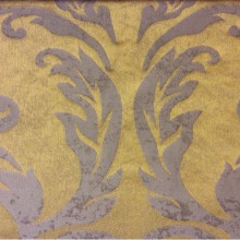 Льняная портьерная ткань для штор 2390/22. Европа, Италия. Горчичный фон, титановый орнамент «под старину»