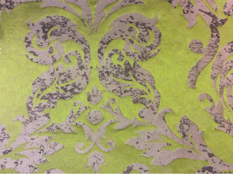 """Портьерная ткань из льна 2390/51. Италия, Европа. Зелёный фон, титановый орнамент """"под старину"""" купить"""