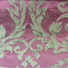 Лён, вискоза, итальянская ткань в классическом стиле для спальни, гостиной 2390/36. Европа, Италия, портьерная ткань. Тёмно-малиновый фон, титановый орнамент «под старину»