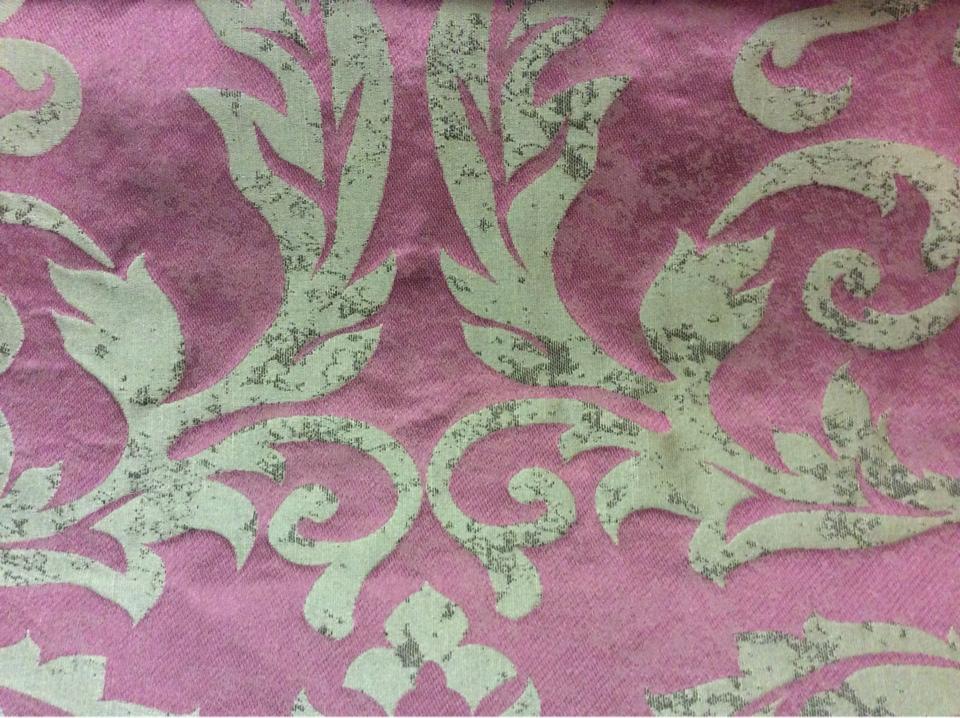"""Лён, вискоза, итальянская ткань в классическом стиле для спальни, гостиной 2390/36. Европа, Италия, портьерная ткань. Тёмно-малиновый фон, титановый орнамент """"под старину"""" купить"""
