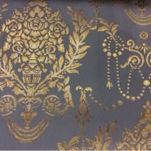 Портьерная ткань из полиэстера, атлас с вышивкой 2377/45. Франция, Европа, портьерная. Насыщенный голубой фон, золотистый орнамент