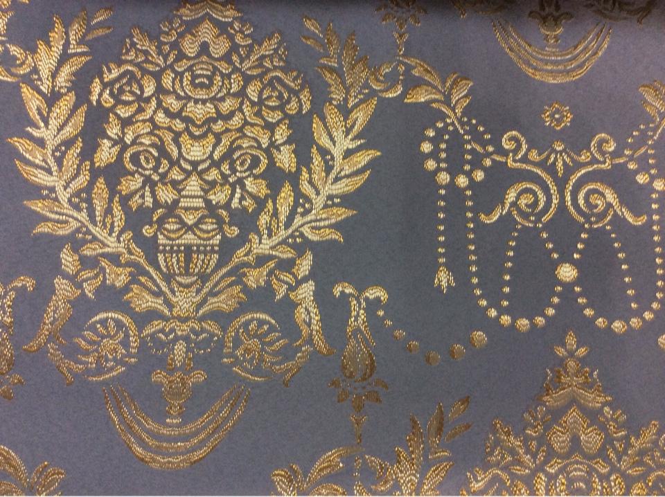 Портьерная ткань из полиэстера, атлас с вышивкой 2377/45. Франция, Европа, портьерная. Насыщенный голубой фон, золотистый орнамент купить