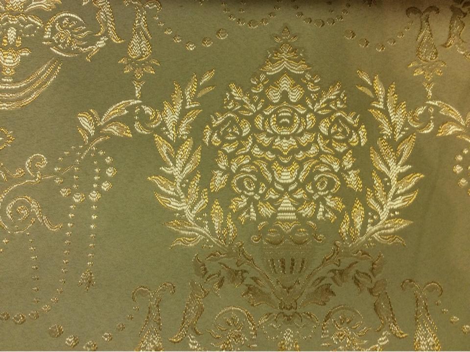 Купить атлас с вышивкой в Москве 2377/51. Франция, Европа, портьерная ткань для штор. Оливковый фон, золотистый орнамент в Москве