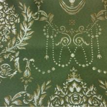 Зеленая ткань из атласа в стиле ампир 2377/50. Европа, Франция, портьерная. Зелёный фон, золотистый орнамент