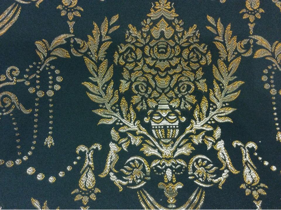 Тёмно-зеленая ткань для штор из атласа 2377/55. Европа, Франция, портьерная. Тёмно-зелёный фон, золотистый орнамент купить