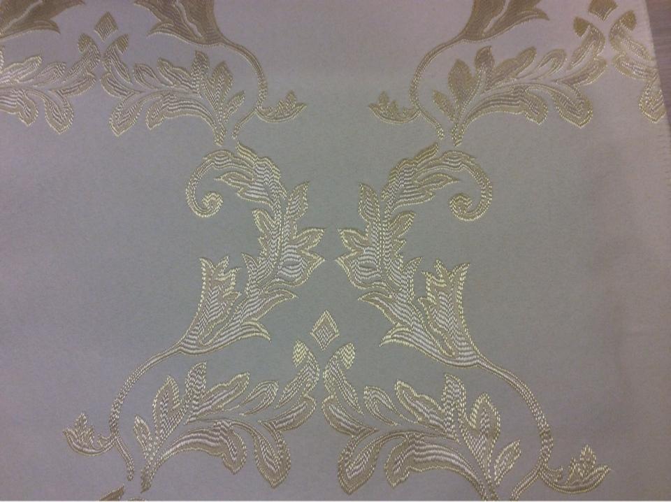 Атласная ткань ванильного цвета с золотистым орнаментом 2375/12. Франция, Европа, портьерная. Купить в интернет-магазине в Москве