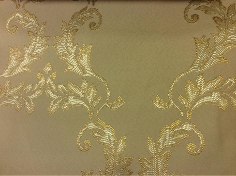 Орнаментальная ткань из атласа в стиле барокко 2375/24. Европа, Франция, портьерная ткань. Кремовый фон, золотой орнамент купить