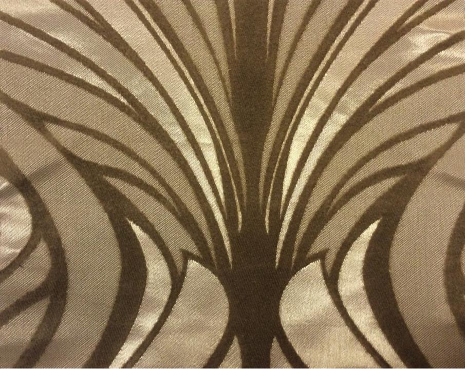 Атласная ткань с хлопковым бархатным нанесением в стиле арт-деко Trini, col 2. Турция, портьерная ткань для штор. Золотисто-карамельный орнамент купить в интернет-магазине
