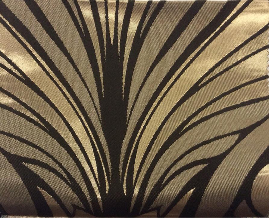 Атлас с хлопковым бархатным нанесением Trini, col 3. Турция, портьерная ткань. Золотисто-шоколадный орнамент купить