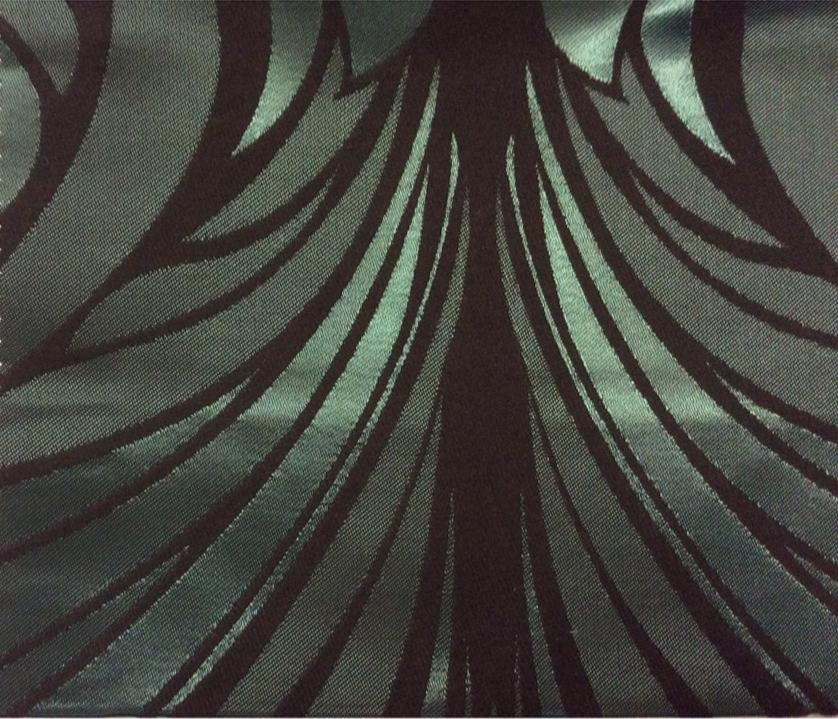 Атлас с бархатным хлопковым нанесением Trini, col 4. Турция, портьерная ткань для штор. Изумрудно-чёрный орнамент купить заказать в Москве