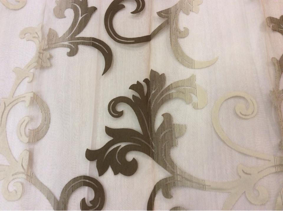 Органза с вискозной нитью в Москве Eflani, col 12. Турция, портьерная ткань для штор. На прозрачном фоне шоколадно-бежевый принт с переходом тона купить