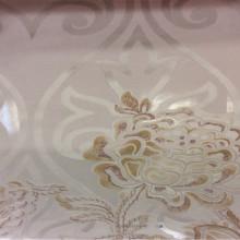 Тонкая ткань с вискозной нитью Ornella 15. Италия, Европа, тюль для штор. На светлом фоне бежевато-розовый цветочный принт с люрексом